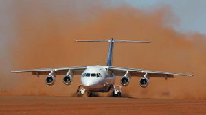 A Cobham BAe 146 begins its take-off roll on an unpaved runway. (BAE Systems)