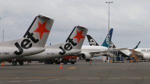 AUCKLAND NEW ZEALAND December 1, 2015. Jetstar commenced Regional New Zealand Services with the arrival of a Bombardier Q300 - Dash 8 aircraft from Napier to Auckland International Airport on December 1 2015. (Mike Millett)