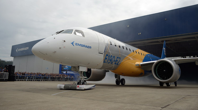 Embraer has three E190-E2 jets in its flight test program. (Embraer)