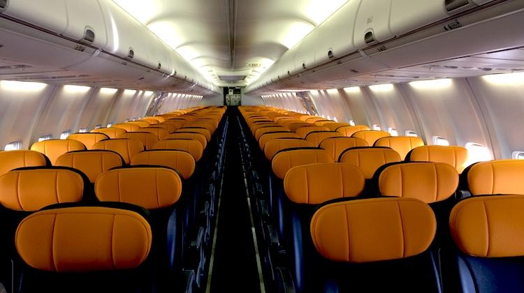 Tigerair Australia Boeing 737-800 cabin interior.
