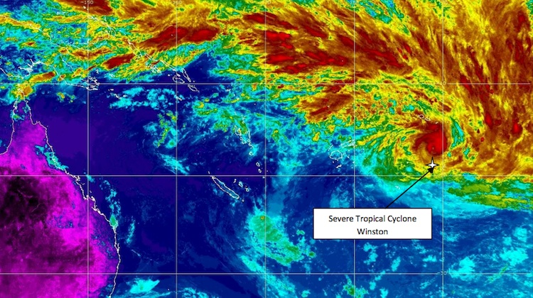 A satellite image of Tropical Cyclone Winston taken on Thursday February 18. (Fiji Metrological Service)
