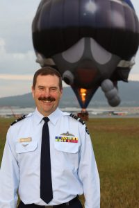 Chief of Air Force, Air Marshal Leo Davies, AO,CSC launches the new shaped Air Force Hot Air Balloon at Defence Establishment Fairbairn in Canberra. (Defence)