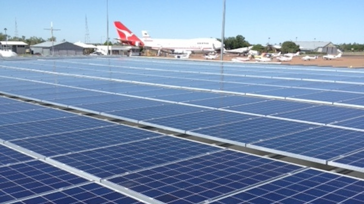 A supplied image of solar panels at Longreach Airport. (Longreach Airport)