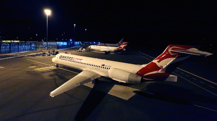 Two QantasLink Boeing 717s at Hobart Airport. (Ron Finlayson)