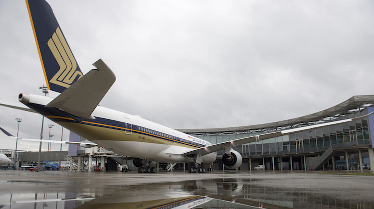 SIA's first A350-900, 9V-SMA, at the Airbus's headquarters in Toulouse before its delivery flight to Singapore. (Airbus)