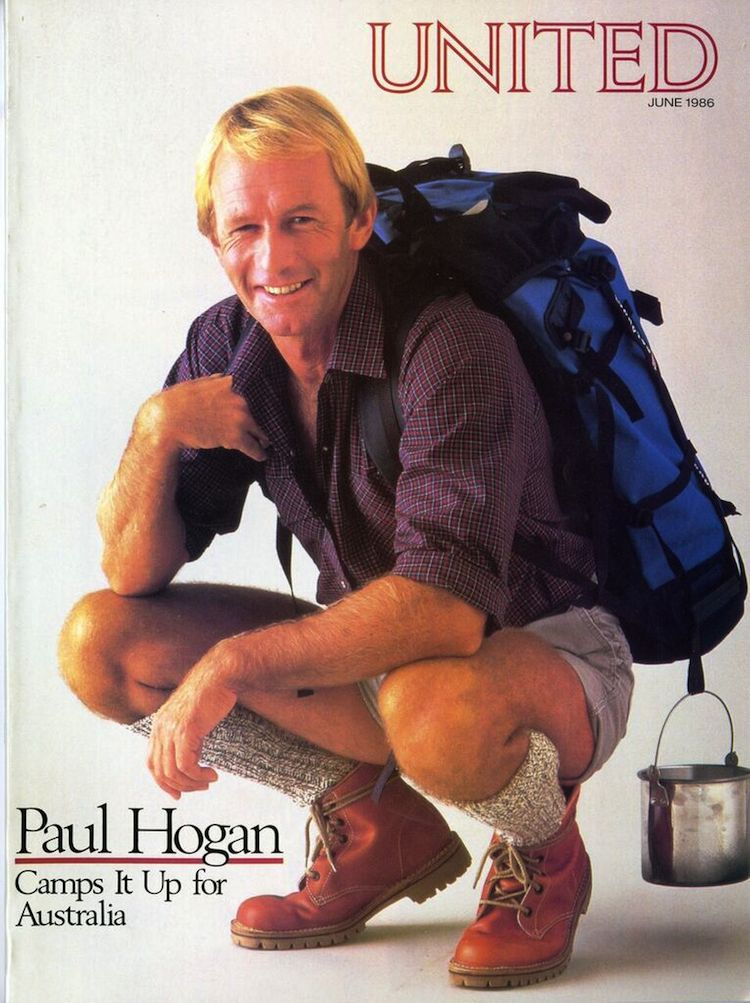United featured Paul Hogan on the cover of its inflight magazine 30 years ago when it began flights to Australia. (United)