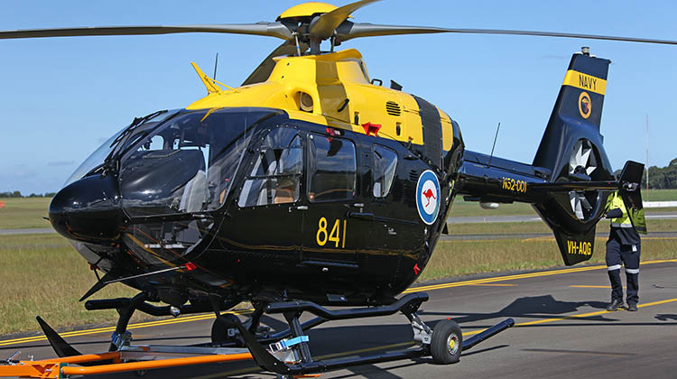 The first HATS EC135 T2+ arriving at Nowra on March 31 from Bankstown. (Defence)