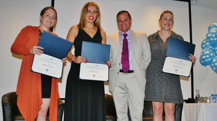 Three of the four recipients of the Australian Women Pilots' Association Airservices flight training scholarship with Airservices' Greg Hood. (Airservices)