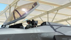 Australia's third F-35A pilot Flight Lieutenant Edwin Borrman undertakes his first flight in in a F-35A aircraft. (Defence)