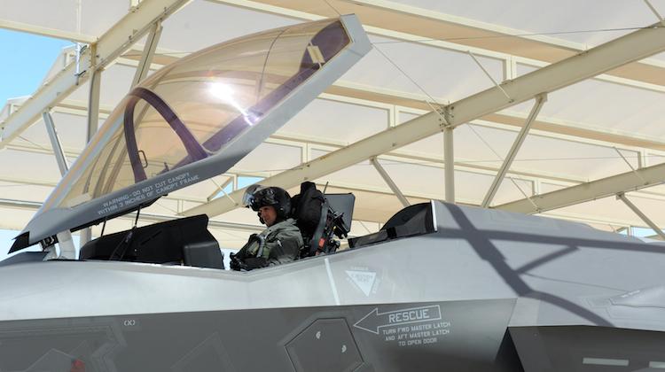 Australia's third F-35A pilot Flight Lieutenant Edwin Borrman undertakes his first flight in in a F-35A aircraft. (Defence)