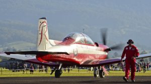 A PC-9/A from the RAAF Roulettes taxis out for a display during the Wings over Illawarra Airshow.