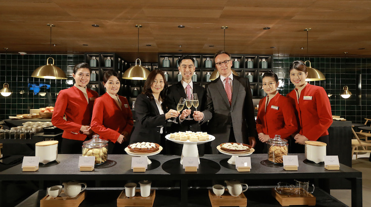 Cathay Pacific General Manager Product Leslie Lu (centre), General Manager Hong Kong International Airport Liza Ng (left) and General Manager Sales & Distribution Toby Smith pictured at The Pier Business Class Lounge. (Cathay Pacific)