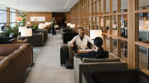 A supplied image of Cathay Pacific's The Pier business class lounge. (Cathay Pacific)