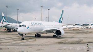 CX A350 arrives HKG