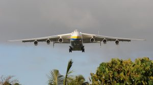 Pago Pago, American Samoa, October 13, 2009 – A Russian Antonov AN-225 cargo plane, the world's largest fixed wing aircraft, approaches Pago Pago airport in American Samoa. The cargo plane is the largest in the world and carried generators contracted by the Federal Emergency Management Agency to assist the island with electrical power restoration. (Casey Deshong/FEMA Photo Library/Wikimedia Commons)