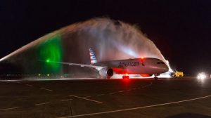 American flight AA83 is welcomed to Auckland Airport. (Auckland Airport/Facebook)