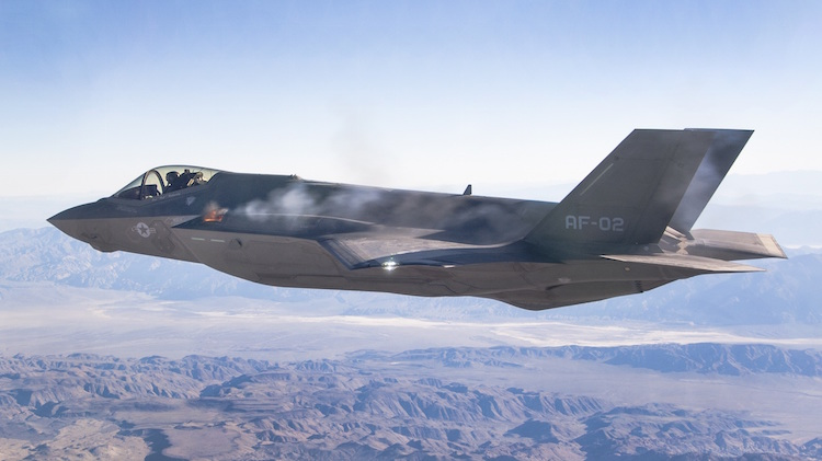 AF-2 First Aerial Gun Fire 10/30/2015. Pilot Maj Charles Trickey, Flt 527 Test 778. Test was conducted over China Lake Weapon Range, California.