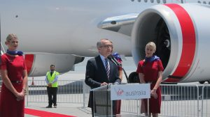 John Borghetti launching the new business class at Los Angeles Airport.
