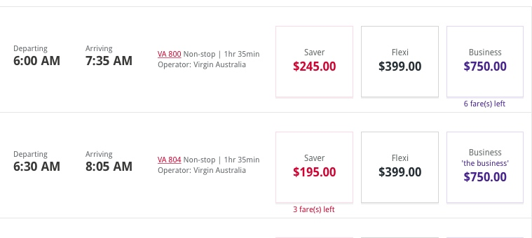A screenshot taken on September 6 of fares for Sydney to Melbourne flights on September 13. (VirginAustralia.com.au)