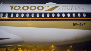 The special 10,000th aircraft delivery logo on A350-900 MSN 54 9V-SMF. (Airbus)