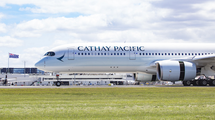 Cathay Pacific CX197 touches down at Auckland Airport on October 28. (Cathay Pacific)