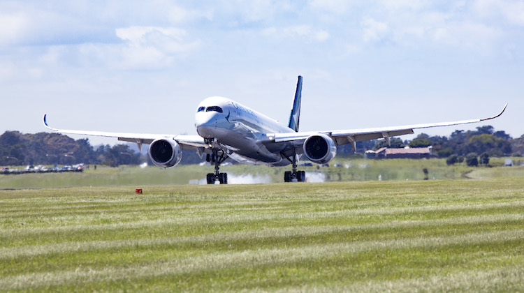 The first Airbus A350-900 passenger service touches down at Auckland Airport. (Cathay Pacific)