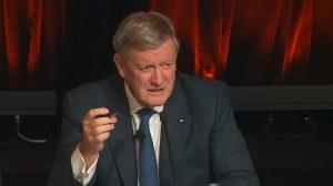 A screenshot of Qantas chairman Leigh Clifford on the webcast of the annual general meeting. (Qantas)