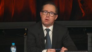 A screenshot of Qantas chief executive Alan Joyce on the webcast of the annual general meeting. (Qantas)