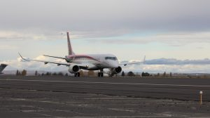 A supplied image of the MRJ flight test aircraft 1 (FTA-1) at Grant County International Airport in Washington State. (Mitsubishi Aircraft Corporation)