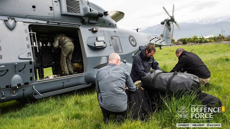 The Royal New Zealand Air Force has mobilised at least three aircraft, including an NH90 helicopter to support recovery efforts. (New Zealand Defence Force/Facebook)