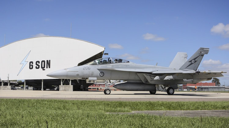 F/A-18F A44-206 taxi's out for its final flight with No 6 Squadron.