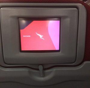 The economy seat-back entertainment screen on the unrefurbished Qantas A330-200 VH-EBL.