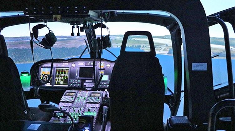 A file image of an AW139 simulator. (Paul Sadler)