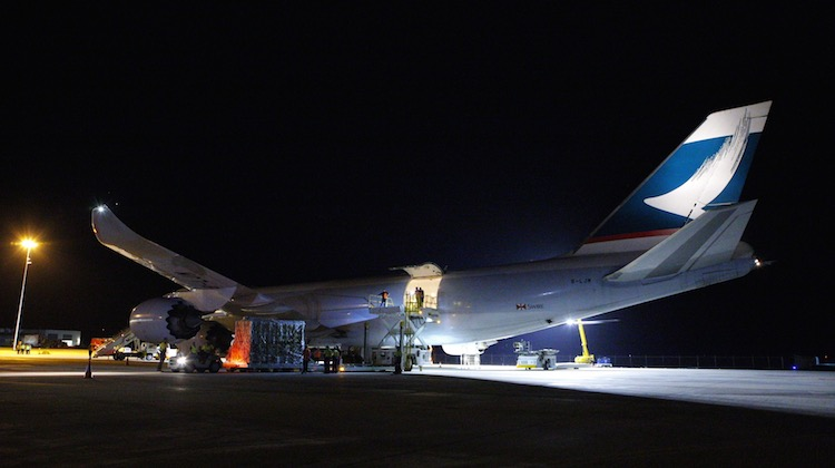 Cathay Pacific Boeing 747-8F B-LJM is loaded with cargo at Brisbane West Wellcamp Airport. (Wellcamp)