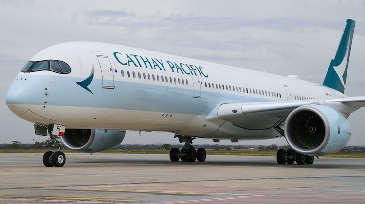 Cathay Pacific flight CX105, operated by Airbus A350-900 B-LRI arrives in Melbourne. (Cathay Pacific)