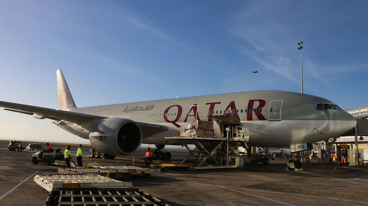 AUCKLAND NEW ZEALAND February 6, 2017. A Qatar Airwayas 777 arrived at Auckland International Airport today to begin the new direct service from Doha to Auckland. (Mike Millett)