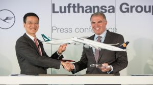 Cathay Pacific chief executive Ivan Chu and Lufthansa Group chief executive Carsten Spohr. (Cathay Pacific)