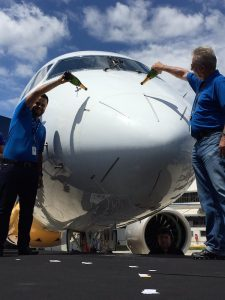 Embraer celebrates the roll-out of its first E195-E2. (Embraer)