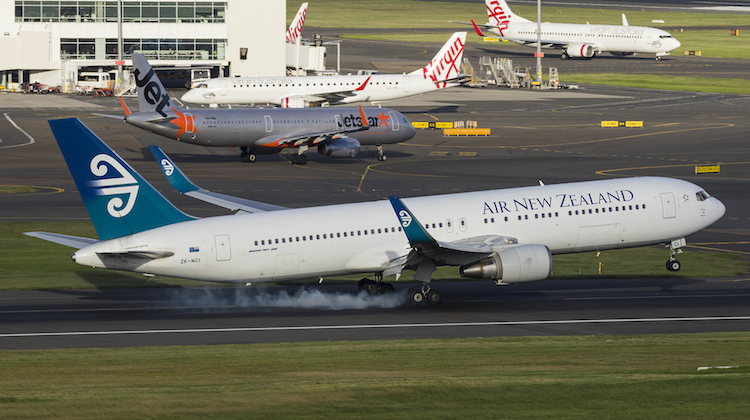 Air New Zealand NZ105, operated by Boeing 767-300ER ZK-NCI, arrives at Sydney Airport. (Seth Jaworski)
