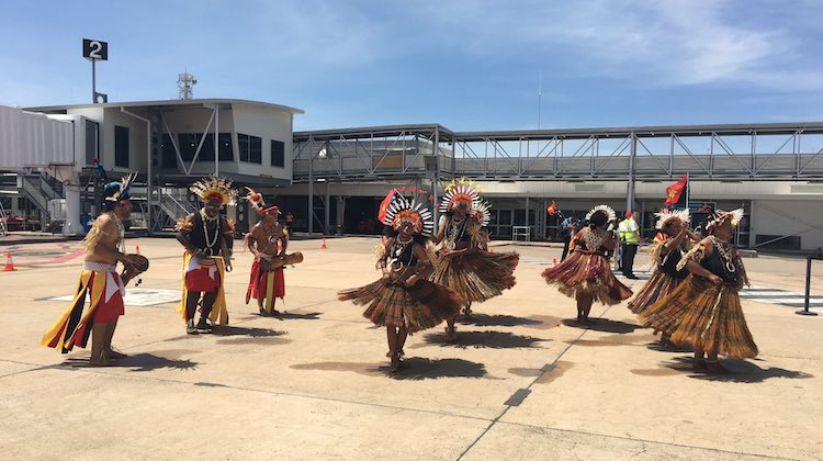 Townsville Airport greeted Air Niugini's inaugural flight with a welcome on the tarmac. (Townsville Airport/Facebook)