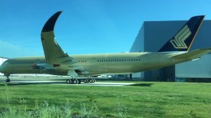 A yet-to-be-painted A350-900 for Singapore Airlines seen at Airbus's headquarters in Toulouse on May 17 2017. (Jordan Chong)