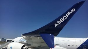 A mockup of the new Airbus A380 winglets on board at test aircraft at the 2017 Paris Airshow. (Airbus)