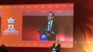 Qantas chief executive Alan Joyce speaking at the IATA AGM closing ceremony.