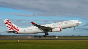 Virgin Australia Airbus A330-200 VH-XFD operating the inaugural VA87 from Melbourne to Hong Kong on July 5 2017. (Virgin Australia)