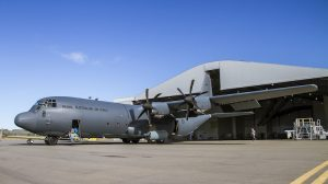 C-130J Hercules, A97-448, emerges from the Douglas Aerospace hangar at Wagga Airport following the aircraft's repaint. (Defence)