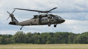 A file image of a UH-60M Black Hawk helicopter from the 3-238th General Support Aviation Battalion from Grand Ledge, Mich., land at Grayling Airfield, Grayling, Mich., Aug. 3, 2013. The 3-238th is participating in Exercise Northern Strike 2013, a joint multinational combined arms training exercise conducted in Michigan. (U.S. Air National Guard photo by Master Sgt. Scott Thompson/released)