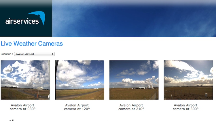 A screenshot of the Airservices live weather camera portal. (Airservices)