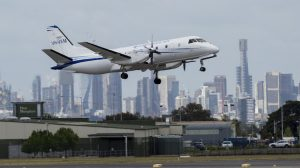 Fly Corporate's inaugural service about to land at Melbourne Essendon Airport. (Essendon Airport)