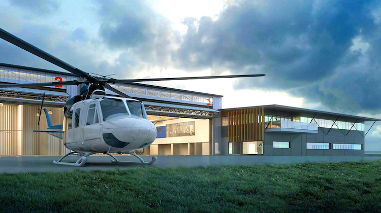 An artist's impression of the proposed new PolAir base at Bankstown Airport. (Crawford Architects)