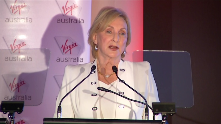 A screenshot of Virgin Australia chairman Elizabeth Bryan on the webcast of the company's 2017 annual general meeting. (Virgin Australia)